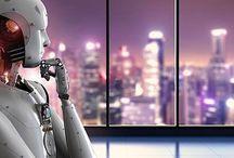 Intelligence artificielle / Les dernières nouvelles en matière d'intelligence artificielle. L'impact de l'intelligence artificielle pour les marques et dans différents secteurs comme la santé. Un sous-tableau consacré aux bots, chatbots, etc.