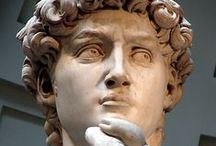 """Michelangelo / Michelangelo Buonarroti (1475-1564) Marble-obsessed Florentine. Talked to rocks, but sometimes refused to talk to popes. While painting the Sistine Ceiling, defiantly signed his letters, """"sculptor in Rome"""""""