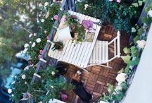 Balkong,terrass och trädgård