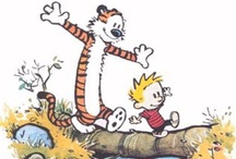 Humor: Calvin & Hobbes (1985-1995) / Calvin and Hobbes is a syndicated daily comic strip that was written and illustrated by American cartoonist Bill Watterson. It follows the humorous antics of Calvin, a precocious and adventurous six-year-old boy, and Hobbes, his sardonic stuffed tiger. The pair are named after John Calvin, a 16th-century French Reformation theologian, and Thomas Hobbes, a 17th-century English political philosopher. / by B.A. Mars