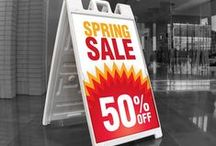 A-frames, Sandwich boards, A-boards / Plastic frames that have a place for changeable inserts.
