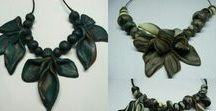 handmade leaves necklaces / The meaning of #fantasy on these fantasy-necklaces. Handmade #claybeads #clayflowers and #leaves #clayart by Flair from Chios STUNNING #necklaces