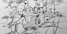 Noir et Blanc -  Collection monochrome de l'Artiste / Noir et Blanc -  Collection monochrome de l'Artiste Cédric Bescond - Art contemporain essentiellement à l'encre - Rennes / Brest / Bretagne