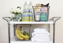 Hosting Guests / Pamper your guests by basket, cart and room ideas