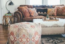 Home: Cushions, Quilts & Rugs Inspo / Mostly Loom + Kiln obsession!! ... Life is better with color! Decor Inspo for white interior, wood finishing and brown couches