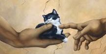 Cats  in the Arts - Gaitos Gatisses /  I'm only a cat, and we'll get along fine... As long as you know I'm not yours... you're all mine!  Author Unknown