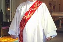Red Deacon Stoles / Deacon stole designs for Palm Sunday, Pentecost or other church holy days.