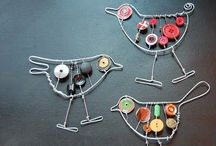 Jewellery and wire / Wire wrapped pendants and wire earrings and wire decorations