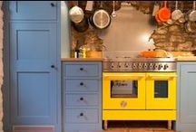 Kitchen Paint Ideas / A selection of Farrow & Ball and Little Greene paints on display in both shaker and flat panel styles.