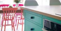 The Colourful Fun Shaker Kitchen / This Bristol Kitchen exudes fun and personality in so many ways, the classic Shaker cabinets and room furniture are brought to life by colour and cool and playful decorative accessories.