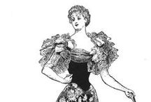 1894 / Hour glass shape: Giant shoulders, tiny waist, flared skirt dominates fashion. Giant puffs at shoulders now mainstream in England.