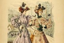 1895 / The hour glass figure remains with wide shoulders (created with puffs at shoulder) corseted waist and flared skirts. Fabric patterns calm down a bit