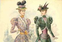1897 / Sleeve puffs shrink as designers use belts and different fabric colors to visually reduce size of waist. Some dresses acquire an architectural look from their efforts.
