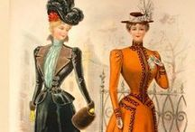 1898 / Sleeves once again narrow, with only a small puff at shoulders. Ball gowns go off the shoulder, with trains remaining moderately long.  Architectural designs, use of belts and fabrics to visually reduce waist.