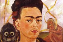"""Frida Khalo / Impressive! Magdalena Carmen Frieda Kahlo y Calderón (July 6, 1907 – July 13, 1954) was a Mexican painter and had a volatile marriage with the famous Mexican artist Diego Rivera. She suffered lifelong health problems, many caused by a traffic accident she survived as a teenager. Kahlo suggested, """"I paint myself because I am so often alone and because I am the subject I know best."""" She also stated, """"I was born a bitch. I was born a painter."""" http://en.wikipedia.org/wiki/Frida_Khalo"""