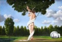"""Rafal Olbinsky / Strange sublime. Rafal Olbinski (born 1945 - ) is a Polish illustrator, painter, and educator, living in the United States. He graduated from the architecture program of the Warsaw Polytechnical School in 1969. Olbinski's work is very similar to the work of the famous Belgian surrealist Rene Magritte; Olbinski describes his approach to painting and illustrating as """"poetic surrealism"""". http://en.wikipedia.org/wiki/Rafal_Olbinski"""