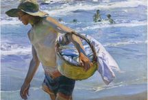 Joaquín Sorolla y Bastida / The beach! Joaquín Sorolla y Bastida (27 February 1863 – 10 August 1923) was a Spanish painter. Sorolla excelled in the painting of portraits, landscapes, and monumental works of social and historical themes. His most typical works are characterized by a dexterous representation of the people and landscape under the sunlight of his native land. http://en.wikipedia.org/wiki/Joaqu%C3%ADn_Sorolla_y_Bastida