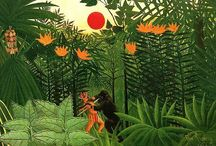 Henri Rousseau / Childhood memory! Henri Julien Félix Rousseau (May 21 1844 – September 2, 1910) was a French Post-Impressionist painter in the Naïve or Primitive manner. He was also known as Le Douanier, a humorous description of his occupation as a toll collector. He was born  into the family of a plumber; he was forced to work there as a small boy. He started painting seriously in his early forties, and by age 49 he retired from his job to work on his art full-time. http://en.wikipedia.org/wiki/Henri_Rousseau