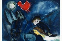 """Marc Chagall / Romantic. Marc Zakharovich Chagall (6 July1887– 28 March 1985) was a Belarussian-Russian-French artist. Art critic Hughes referred to Chagall as """"the quintessential Jewish artist of the twentieth century"""", though Chagall saw his work as 'not the dream of one people but of all humanity'. An early modernist, and associated with major artistic styles such as painting, book illustrations, stained glass, stage sets, ceramic, tapestries and fine art prints. http://en.wikipedia.org/wiki/Marc_Chagall"""
