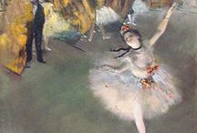 Edgar Degas / Ballet! Hilaire-Germain-Edgar De Gas (19 July 1834 – 27 September 1917) was a French artist famous for his paintings, sculptures, prints, and drawings. He is especially identified with the subject of dance; more than half of his works depict dancers. He is regarded as one of the founders of Impressionism, although he rejected the term, and preferred to be called a realist. At the beginning of his career, he wanted to be a history painter. http://en.wikipedia.org/wiki/Edgar_Degas
