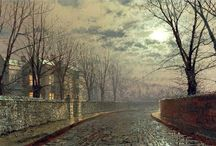 """John Atkinson Grimshaw / John Atkinson Grimshaw (6 September 1836 – 13 October 1893) was a Victorian-era artist, and was born in Leeds. In 1860 he married his cousin and eft his job as a clerk for the Great Northern Railway to become a painter. He had a London studio in Chelsea in the 1880s not far from the studio of James Abbott McNeill Whistler. He remarked that """"I considered myself the inventor of Nocturnes until I saw Grimmy's moonlit pictures."""" http://en.wikipedia.org/wiki/John_Atkinson_Grimshaw"""