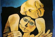 Oswaldo Guayasamín / Look at the hands! Fear and motherhood. Oswaldo Guayasamín (July 6, 1919, – March 10) was an Ecuadorian master painter and sculptor of Quechua and Mestizo heritage. He was born in Quito to a native father and a Mestiza mother, both of Quechua descent. His family was poor his father was a carpenter. Oswaldo worked as a taxi and truck driver. When he was young, he enjoyed drawing caricatures of his teachers and the children that he played with. http://en.wikipedia.org/wiki/Oswaldo_Guayasamin