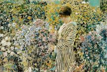 Frederick Frieseke (Giverny art colony) / Parasols and flowers. Frederick Carl Frieseke (April 7, 1874 – August 24, 1939) was an American Impressionist painter who spent most of his life as an expatriate in France. An influential member of the Giverny art colony, his paintings often concentrated on various effects of dappled sunlight. He is especially known for painting female subjects, indoors and out. http://en.wikipedia.org/wiki/Frieseke