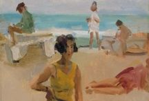 Isaac Israëls (De Tachtigers) / Creamy beach life! Isaac Lazarus Israëls (February 3, 1865 – October 7, 1934) was a Dutch painter associated with the Impressionism movement and the son of Jozef Israëls (The Hague School). In 1886 Israëls abandoned the art academy for the more progressive circle of the Tachtigers, an influential group of writers and artists. He often spent the summer in Scheveningen, some with Édouard Manet and Max Liebermann. http://en.wikipedia.org/wiki/Isaac_Israëls