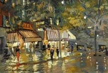 """Konstantin Alekseyevich Korovin (Константи́н Алексе́евич Коро́вин) / City views. Konstantin Alekseyevich Korovin (23 November 1861 – 11 September 1939) was a leading Russian Impressionist painter. Konstantin was born in Moscow an younger brother of the notable realist painter Sergey Korovin. In 1885 Korovin traveled to Paris and Spain. """"Paris was a shock for me … Impressionists… in them I found everything I was scolded for back home in Moscow"""", he later wrote. http://en.wikipedia.org/wiki/Konstantin_Korovin"""