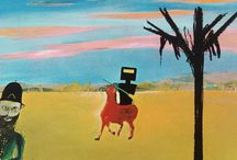 Sidney Nolan / LOL The Kelly Series, -Story & -Saga :-) Sir Sidney Robert Nolan (22 April 1917– 28 November 1992) was one of Australia's best-known painters and printmakers. From 1933, at the age of 16, he began almost six years of work producing advertising and display stands with spray paints and dyes. From 1934 he attended night classes sporadically at the National Gallery of Victoria Art School. Several documentary films have been made about Nolan. http://en.wikipedia.org/wiki/Sidney_Nolan