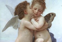 William-Adolphe Bouguereau / Sweet angels. William-Adolphe Bouguereau (November 30, 1825 – August 19, 1905) was a French academic painter. During his life he enjoyed significant popularity in France and the United States, and received top prices for his work. But by the early twentieth century, he and his art fell out of favor with the public, due to changing tastes. Bouguereau executed 822 known finished paintings, although the whereabouts of many are still unknown. http://en.wikipedia.org/wiki/William-Adolphe_Bouguereau