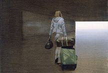 Tim Eitel / Tim Eitel uses photographs that he takes of urban spaces as the basis for his paintings, resulting in works that are both realistic and detached from reality. Many of Eitel's paintings and lithographs are of figures or obscured objects taken out of context and placed in an ambiguous background painted in muted, industrial colors. https://artsy.net/artist/tim-eitel
