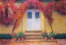 Henri Martin / Romantic pointillism. Henri-Jean Guillaume Martin (August 5, 1860 - November 12, 1943) was a French impressionist painter. He began his career in 1877 at the Toulouse School of the Fine Arts. At the 1900 World Fair he was awarded the Grand Prize for his work and became friends with Auguste Rodin. Although Martin's work as a neo-impressionist is not considered groundbreaking, it was well-received. http://en.wikipedia.org/wiki/Henri-Jean_Guillaume_Martin