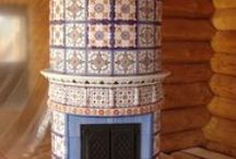 Beautiful tile stoves and chimneys. Contemporary
