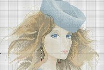 Cross stitch woman fashion / PIN UNLIMITED ONLY FOR MY FOLLOVERS  similar images in my board CROSS STITCH (flowers and more)