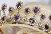 Amethyst necklace tiara parure - Norwegian Royal Family / King Harald's gift to his Queen Consort Sonja for her 60th birthday in 1997. Made by Garrard, I presume.Since 2004 used mostly by Crown Princess Mette Marit. Other user: Princess Märtha Louise