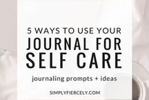 Journaling // Self Reflection / Journaling is a fantastic way to learn about yourself - it brings increased self knowledge, is great for personal development and really helps with self care.  All this can reduce stress in just a few minutes a day.