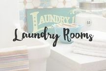 Laundry Rooms / There is nothing like a well designed laundry room that is clean, organized and fun to be in. Call me crazy but doing laundry should be fun and folding clothes in an environment that is beautiful truly makes me smile.
