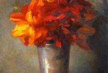 peinture fleur, nature morte, plante