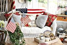 Red white and blue decorating / by Nola Wilson