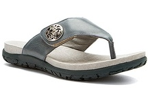 Alegria Molly / This women's thong-style sandal has an embossed leather or Nappa leather upper with an adjustable hook-and-loop closure strap to customize your fit. The contoured footbed works with the toe post to enhance grip, and is made of cork, latex and memory foam to conform to the shape of your foot for customized support. The Alegria Molly thong sandal is finished with a lightweight, flexible polyurethane sole that offers secure traction and shock-absorbing comfort every step of the way. / by Alegria Shoe Shop