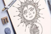 Adult coloring pages by ZuskaArt /  Adult coloring pages available for instant download in our shop. Hippie and boho style illustrations.