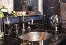 Bathrooms / Rustic, bathroom vanity, bathroom mirrors, shower tile, subway tiles, chevron floor tile, zig zag, contemporary, modern, brass, gold, chandelier, lighting, designer, interior design, shower, glam, bathtub tile, floor tile, fixture, marble