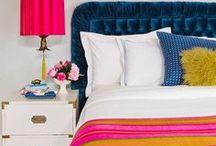 Tween Room Decor / teenager bedroom, pink bedroom, pink accents, teenager room decor, girls room, patterns, wall art, accent pillows, tween, teen bedroom, colorful patterns, colorful lighting, blue bedroom
