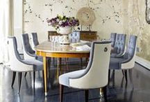 Dining spaces / Contemporary dining room, blue dining room, dining space inspiration, dining chairs, traditional dining room, modern dining room, dining chandelier, dining room wall art, wall accents, eames chair, green dining chairs, blue dining chairs, elegant dining room, sophisticated dining room
