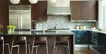 Westchester Contemporary Kitchen / Contemporary kitchen, walnut cabinets, teal cabinets, quartz counters
