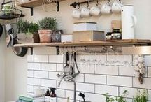 Kitchen Shelves / In small kitchens slim shelving is clever storage option creating more space by moving things from the surfaces, but not invading the 'head space'. Here are some shelving ideas for your kitchen