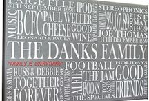 Family and Home / Fabulous, personalised typographic art for every occasion. You supply the words, phrases, names, dates, colours and all other details and let us do the rest! They make beautiful, unique gifts for anyone and everyone! Produced on museum quality, 350gsm canvas weave or on permanent grade, fine art card. Bespoke framing is also available for fine art prints. Prices from just £29. See www.thebeaskneesandthecatswhiskers.co.uk for lots more ideas and inspiration! / by The Bea's Knees & The Cat's Whiskers