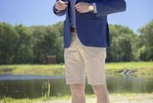 Men's preppy style: Summer preppy outfits. Men's fashion. / Summer preppy stylizations. Colorful and pleasant. Light jacket, polo, chino shorts, boat shoes,  sunglasses and more.