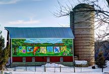 """Quilts on Barns / The fine art of painted quilt blocks, mounted on barns.  Following the various Quilt Trails around the country is fascinating and rewarding.  """"Oh, Look, there is one!"""" / by Jan Bellon"""